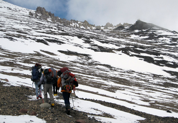 hiking to high camp