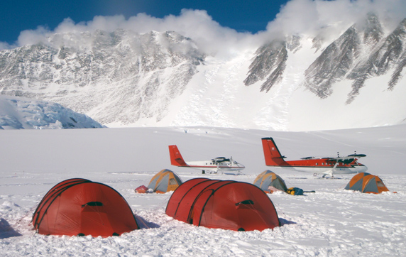 Two of our Hilleberg tents at Vinson Base Camp, with the mountain in the background.
