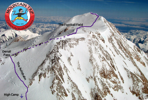 "This shows the route from just outside High Camp to the summit.  The dotted line is where the route zig zags past Zebra Rocks and across the ""Speed Bumps"""