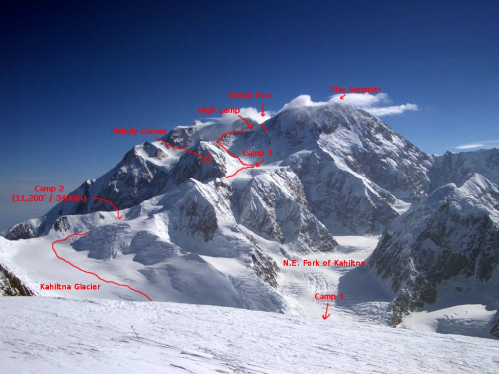 Overview of the West Buttress route.  You can see the headwall above the basin camp at 14,200', which is the location of the fixed lines.