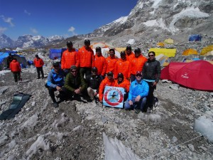 The Mountain Trip Everest Team and Climbing Sherpas meet in base camp
