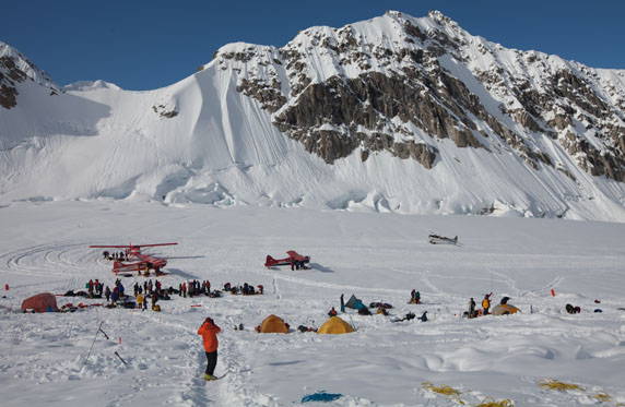 Denali Base Camp can be bustling at times.  Also known as KIA (Kahiltna International Airport), it sees numerous ski planes come and go, delivering both climbers and sight seers to the glacier.