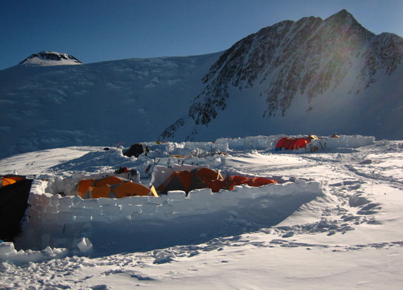 Denali's 17,200' high camp is a challenging place to spend time.  It is so high that climbers find themselves breathing air with roughly 1/2 the oxygen content of sea level.  This image is looking toward the north summit of the mountain.