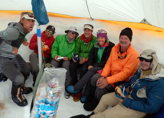 """The team in one of our cook tents, which quickly become the social epicenter in camp. (from left: Peter Inglis, Mike Thurk, Zac Davies, Jim Toman, Nicole Passage, Rick Pietter and """"Lloydie"""" Charton."""