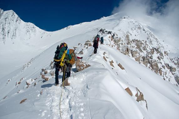 Climbers on the ridge leading to high camp.