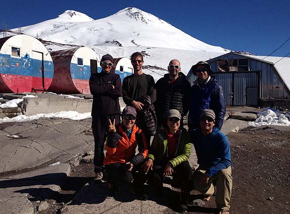 The team back at the Barrels Huts, after their successful summit of Elbrus, the highest peak in Europe!