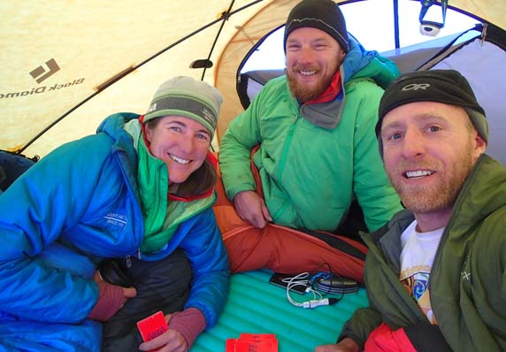 Laura, Joe and Rich C, enjoying some relaxation before their summit push.