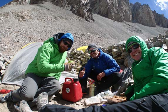 Laura, with guides Joe Butler and Agustin Karriere at 16,400' on Aconcagua