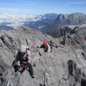 Sunny day on summit ridge of Carstensz Pyramid