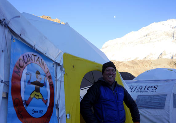 Wayne, outside our base camp tent, where we ate well and sought shelter from the winds that pummeled us on occasion, as we built up our acclimatization in preparation for the upper mountain.