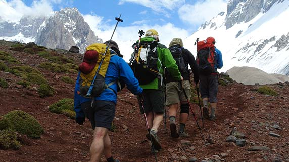 The team, approaching pur Base Camp at Plaza Argentina, after hiking up the steep and narrow Relinchos Valley.