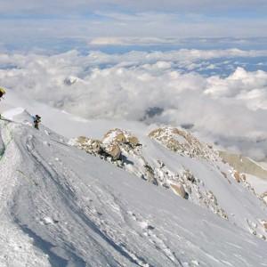 Denali climber on ridge