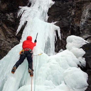 Ice climbing in Colorado.