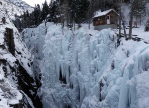 Ouray Ice Park showing some of its many ice routes.