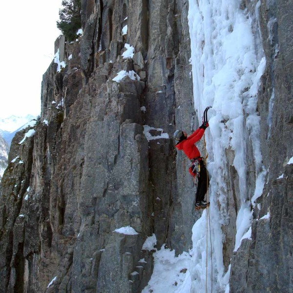 Climbing the famous Ames Ice Hose, first pitch.