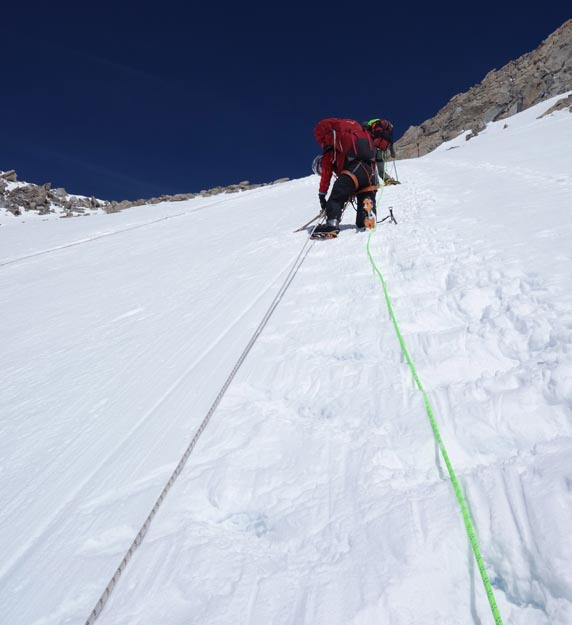 The fixed lines run up the steepest section of the West Buttress route, known as the Headwall.  Climbers ascend this 40-45 degree slope for about 600 feet.