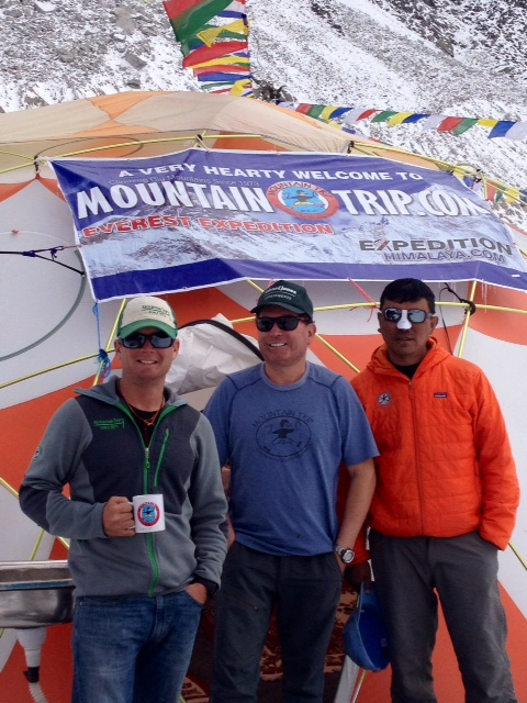 Jacob, Scott, and DaOngchhu at the Mountain Trip Everest Base Camp