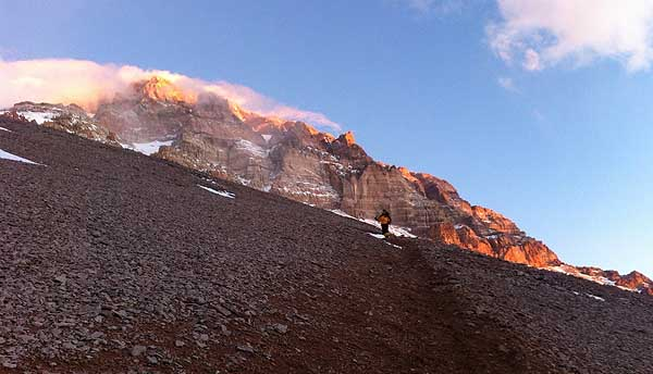 Aconcagua windy descent