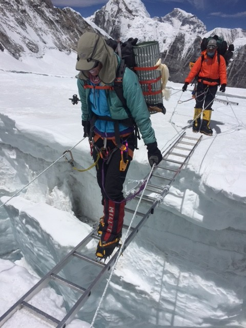 Everest ladder over crevasse