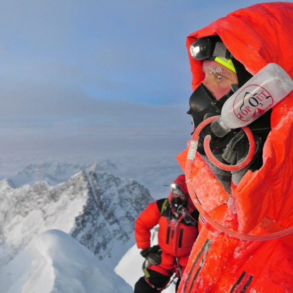Climber Near the Summit of Mount Everest
