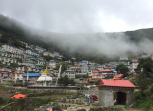 The village of Namche on a misty day.