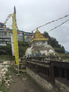 A colorful Stupa in the middle of the village of Namche.