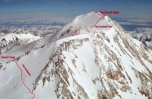 Denali upper mountain route map