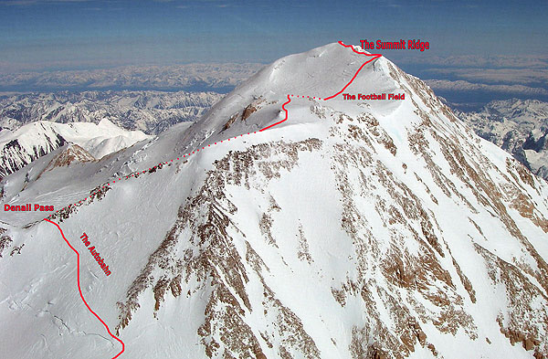 Denali upper mountain route map