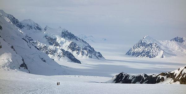 climbers on kahiltna glacier
