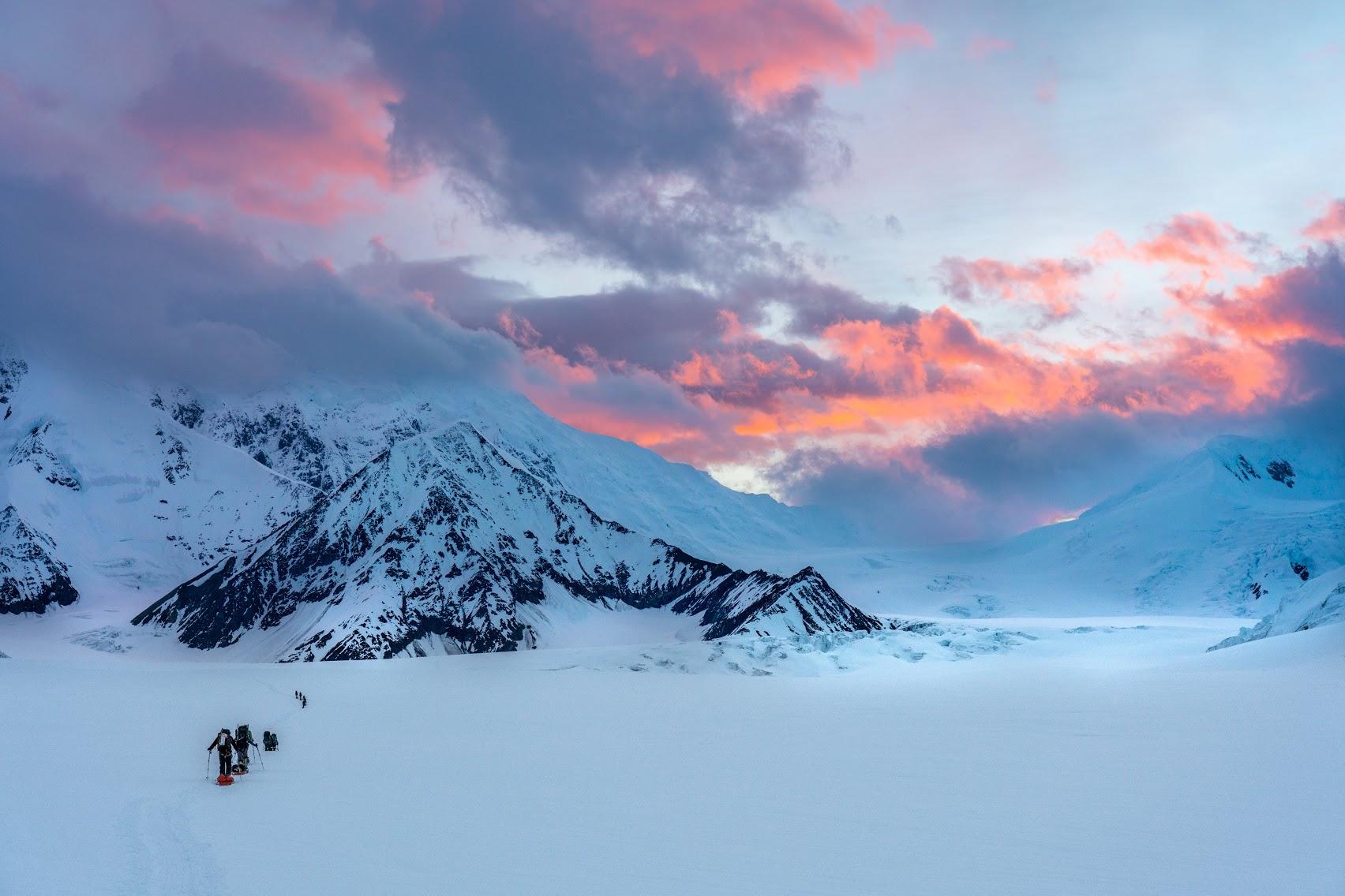 Byers Lake Alaska Fall with Mount McKinley,Ladies Full Zip Fleece with Pocket Denali S