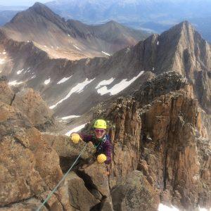 A climber on the Wilson - El Diente Traverse.