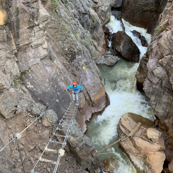 "Ascending the ""Skybridge"" near the end of the Ouray Via Ferrata."