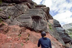 Mountain Trip guide Dave Nesis belays a climber above Telluride.