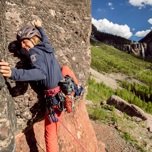 Mountain Trip guide Carly Casternovia starting up a route on the Pipeline Wall.