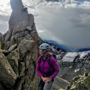 Guide Kristin Arnold on the Wilson - El Diente Traverse.