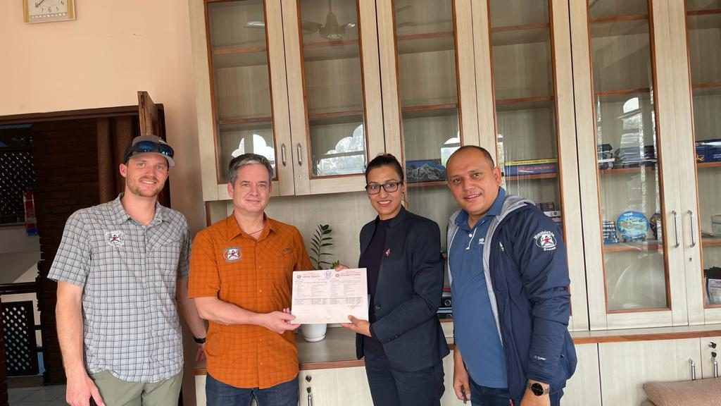 Fischer, Jacob and Nabin after receiving the Everest climbing permit from the Nepal Department of Tourism